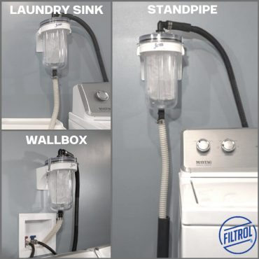 The drain hose coming from the bottom of the Filtrol can be routed to a laundry sink, wallbox or standpipe.