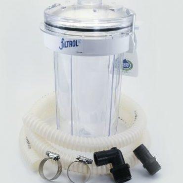 Filtrol 160 comes complete with cansiter, lid, wall bracket, filter bag, 5 ft. of hose, 2 hose clamps,